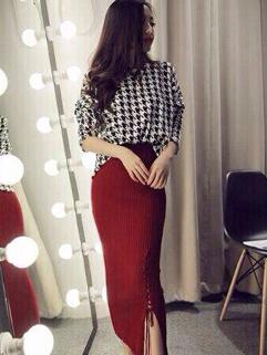 Korean Fashion Houndstooth Printed Two Piece Women Suit Round Neck Three-quarter Sleeve Wrap Street Wear Women Suit