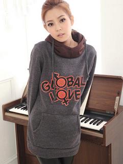Korean Preppy Style Pullover Hooded Women Hoodie Letter Printed Loose Pocket Dark Gray Thicken Oversize Hoodie