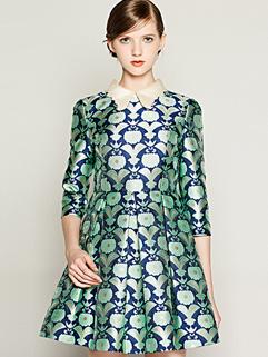 2014 European Autumn Celebrity Elegant Lapel Smart Waist Green Dress Floral Printed A-Line Pleated Royal Oversize Dress
