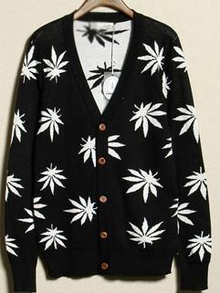 2014 Japanese Style Sweater White Maple Leaves Pattern V Neck Cardigan Long Sleeve Sweater M-XL