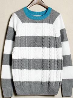 2014 Autumn Winter Korean Men Sweater Color Block Striped Round Collar Casual Gray Sweater M-XL
