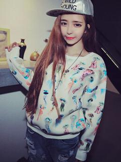 Korean New Arrival Cartoon Printing Round Collar Women Hoodies Autumn Pullover Leisure Comfortable Wear Top