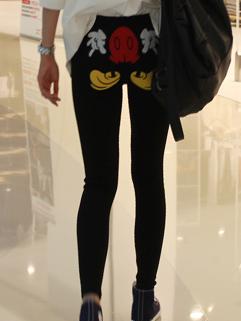 2014 Korean Basic Item Slim Cut Women Leggings Cartoon Printing Hip Skinny Tight Trousers