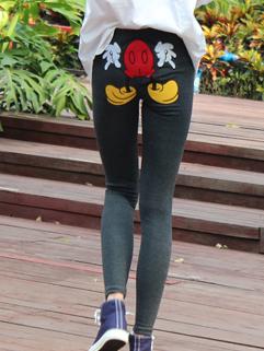 Korean Autumn Basic Item Slim Cut Women Leggings Cartoon Printing Hip Skinny Tight Trousers