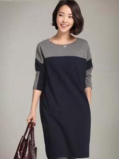 2014 Popular Selling Simplicity Elegant Dress Pullover Bat-wing Sleeve Split Joint Round Neck Fresh Dress S-XXL
