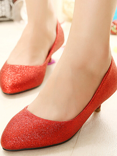 2014 Simplicity Wedding Flats Pure Color Sequined PU Pointed Toe Low Heel Red Flats 35-39