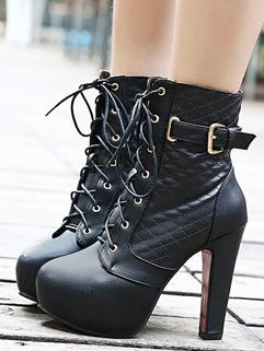 2014 Winter Korean Martin Boots Side Zipper Ribbons Buckle Round Toe High Chunky Heel Black PU Boots 35-39