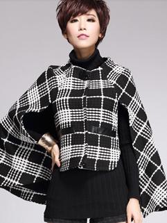 2014 New Brand Winter Hot Sale Cloak Design Women Top Coat Plaid Pattern Vintage Single-breasted Pocket All Match Coat