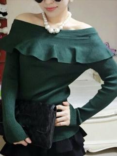 Korean Sexy Adorable Look Women Sweater Blouse Crew Collar Easy Match Female Ruffle Top