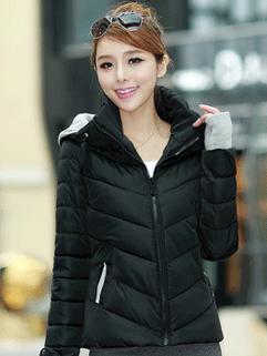 Fashion Wholesale Coats Color Block Zipper Up Coats Pockets Casual Black Coats