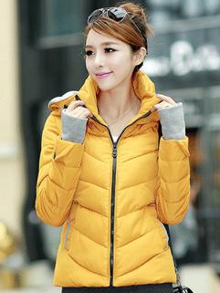 2014 Autumn Coats Fitted Zipper Color Block Coats Woolen Yellow Street Style Coats