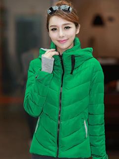 Graceful And Noble Coats Protective Gloves Color Block Coats Short Green Coats