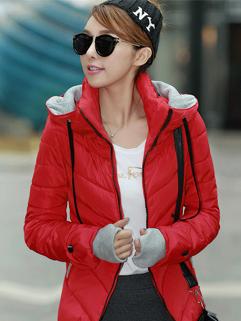 Charming Women 2014 Coat Color Block Zipper Fitted Coats Woolen Red Chic Coats