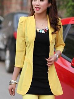 2014 Korean Leisure Style Long Blazers Pure Color Three-quarter Sleeve Lapel Yellow Blazers M-XL