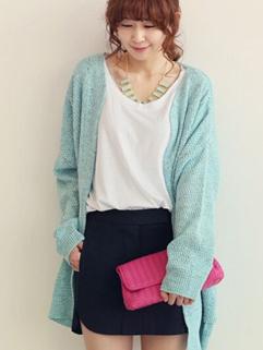 2014 Korean Simple Long Sweater Cardigan V Neck Long Sleeve Women Casual Azure Sweater