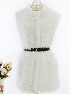 2014 Fashion Star Style Women Long Waistcoats Cardigan Zip Up Woolen Sleeveless White Waistcoats