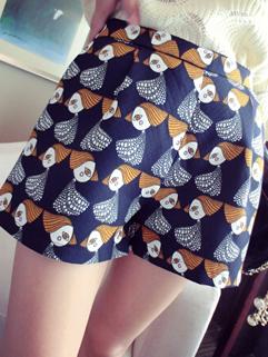 2014 Autumn Basic Item Printing Loose Fit High Waist Vintage Style Look Short Pants