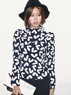 Korean Simple Design Women Top Easy Match Heart Printing Long Sleeve Autumn Female Top