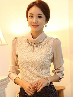 New Arrival Elegant Lady High Collar Spliced Blouse