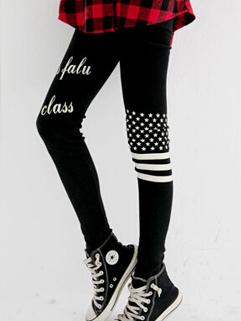 2014 Korean Hottest Girls Legging Striped Star and Letter Pattern Full Long Pants Mid Waist Skinny Black Leggings