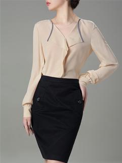 2014 Korean Hot Selling High Quality Pure Color Blouse Lapel Slim Wear Workman Wear OL Graceful Oversize Blouse