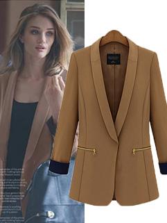 2014 Autumn Winter New Coming Euro American Cardigan Blazers Vertical Pocket Zipper Trim Collar 2 Color Blazer