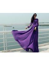 Dreamy Style 2014 Dress Solid Color Long Sleeve Purple Dress Chiffon Elegant Maxi Dress