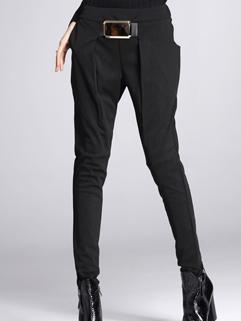 2014 Stylish Women Harem Pants Skinny Pure Color Metal Buckle Decoration Empire Waist Long Black Pants M-XL
