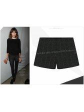 2014 European Casual Shorts Plaid Pattern Woolen Elastic Waist 2 Colors Slim Cut Short Pants S-XL