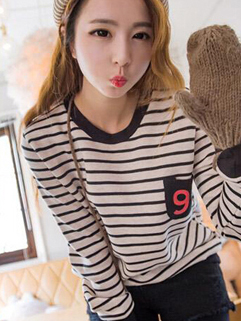 Korean All-matching College Style Casual Pullover Hoodie Pullover Striped Pattern Round Neck Split Joint Youthful Hoodie