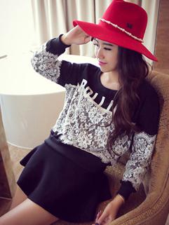 Most Popular Style Hoodies Floral Pattern Long Sleeve Straight Top Black Street Style Hoodies