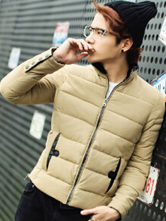 2014 Latest Korea Style Coats Pu Collar Pockets Long Sleeve Coats Winter Khaki Coats