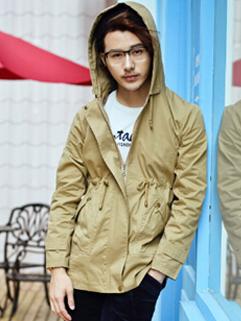Korean 2014 Hot Sale Coats Long Sleeve Zipper Up Fitted Coats Street Style Khaki Coats