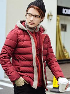 Fashion Charming Men Coats Color Block MD-Long Coats Hooded Woolen Matching Coats
