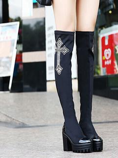 New Step Autumn Winter Celebrity Brand Adorable Jackboot Black Color Super High Heel Chrome Heart Pattern Boot