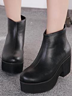 Korean Street Wear Hot Sale New Brand Martin Boot Chunky Heel Back Zipper Round Toe Black Color Casual Boot