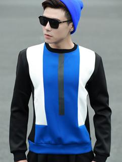 2014 Autumn Winter Latest Hoodies Color Block Splicing Long Sleeve Round Collar Hoodies M-XL