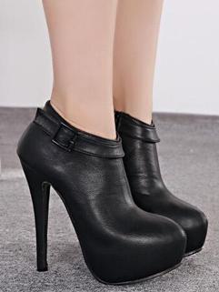 Euro America Classic Look Round Toe PU Short Boot Side Zipper Black Color Super High Heel Night Club Wear Boot