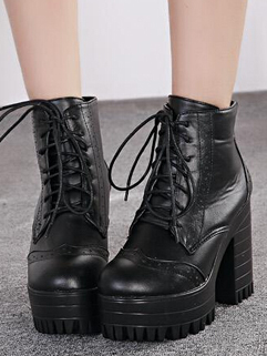 Euro America Best-selling Platform Lace Up Black Color Boot High Heel Round Toe All-matching Chunky Heel Size 35-39 Boot