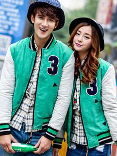 Autumn Winter New Japanese Couple Coats Color Block Zipper Up Stand Collar Green Couple Hoodies