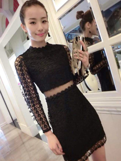 2014 Night Club Sexy Women Dress Pure Color Long Sleeve White Gauze Splicing Perspective Black Lace Dress