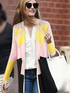 2014 New Brand Autumn Korean Fresh Slim Wear Color Matching Cardigan Lapel Vertical Pocket 2 Color Coat