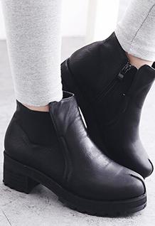 2014 Korean New Cool Style Martin Boots Round Toe Side Zipper Chunky Heel PU Black Boots 35-39