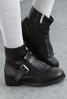Unique Design Popular Martin Boots Tassel Decoration Side Zipper Round Toe Buckle Chunky Heel PU Black Boots 35-39