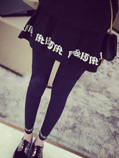2014 Korea Style Legging Fake Two Pieces Solid Color Long Legging Black Cotton Leggings