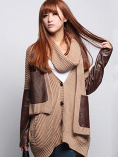 2014 European Style Loose Women Sweater Cardigan V Neck Color Block Casual PU Splicing Sleeve Sweater