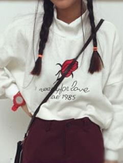 Korea Vintage Style Hoodies Rose Pattern Long Sleeve Turtle Collar Top 2 Colors Hoodies