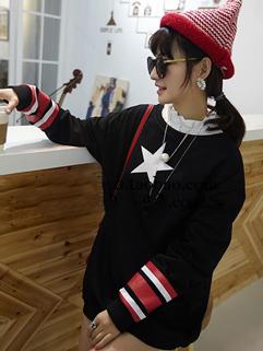 Elegant Women Style Hoodies Star Pattern Long Sleeve Top Black Cotton Hoodies