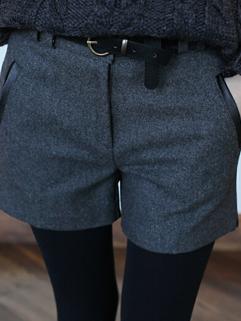 2014 New Arrival Pants Fitted Mid Waist Short Pants Zipper Casual Woolen Pants