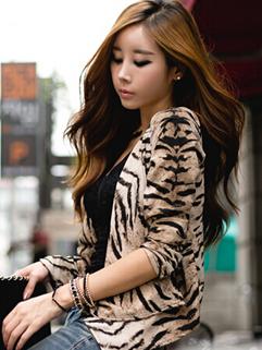 Korea New Coming Coats Fitted Long Sleeve Cardigan Leopard Casual Coats